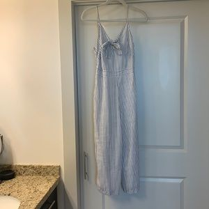 Grey and white jumpsuit